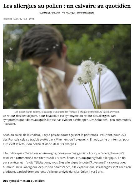 Les allergies au pollen un calvaire au quotidien Clermont Ferrand 63000 La Montagne
